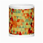 Modern Hipster Triangle Pattern Red Blue Beige Night Luminous Mugs Center