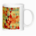 Modern Hipster Triangle Pattern Red Blue Beige Night Luminous Mugs Right