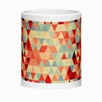 Modern Hipster Triangle Pattern Red Blue Beige Morph Mugs Center