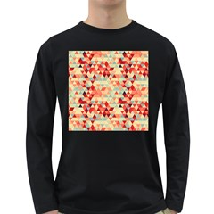 Modern Hipster Triangle Pattern Red Blue Beige Long Sleeve Dark T-Shirts