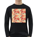 Modern Hipster Triangle Pattern Red Blue Beige Long Sleeve Dark T-Shirts Front