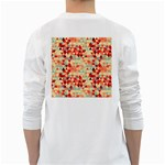Modern Hipster Triangle Pattern Red Blue Beige White Long Sleeve T-Shirts Back