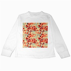 Modern Hipster Triangle Pattern Red Blue Beige Kids Long Sleeve T-Shirts