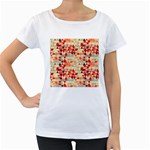 Modern Hipster Triangle Pattern Red Blue Beige Women s Loose-Fit T-Shirt (White) Front