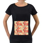 Modern Hipster Triangle Pattern Red Blue Beige Women s Loose-Fit T-Shirt (Black) Front