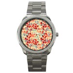 Modern Hipster Triangle Pattern Red Blue Beige Sport Metal Watch Front