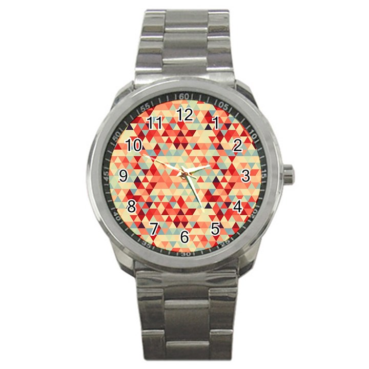 Modern Hipster Triangle Pattern Red Blue Beige Sport Metal Watch