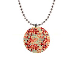Modern Hipster Triangle Pattern Red Blue Beige Button Necklaces