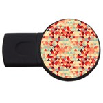 Modern Hipster Triangle Pattern Red Blue Beige USB Flash Drive Round (4 GB)  Front