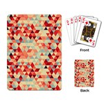 Modern Hipster Triangle Pattern Red Blue Beige Playing Card Back