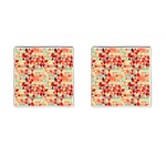 Modern Hipster Triangle Pattern Red Blue Beige Cufflinks (Square) Front