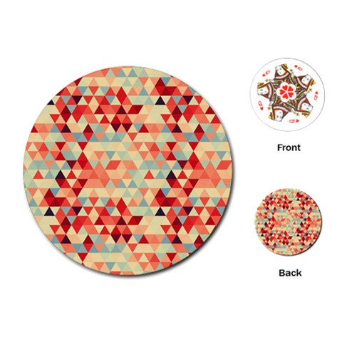 Modern Hipster Triangle Pattern Red Blue Beige Playing Cards (Round)