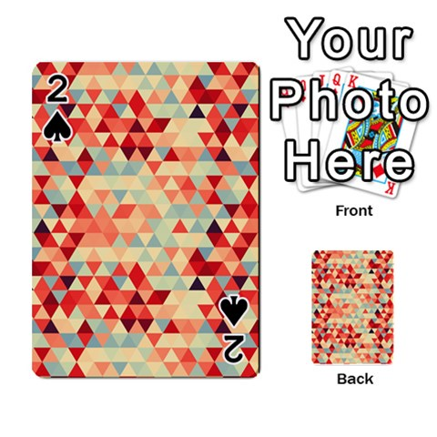 Modern Hipster Triangle Pattern Red Blue Beige Playing Cards 54 Designs