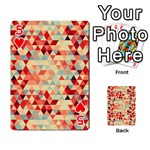 Modern Hipster Triangle Pattern Red Blue Beige Playing Cards 54 Designs  Front - Heart5