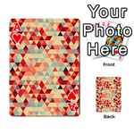 Modern Hipster Triangle Pattern Red Blue Beige Playing Cards 54 Designs  Front - HeartA