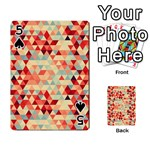 Modern Hipster Triangle Pattern Red Blue Beige Playing Cards 54 Designs  Front - Spade5