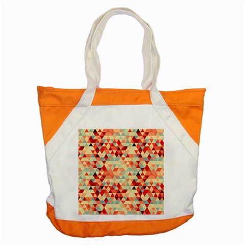 Modern Hipster Triangle Pattern Red Blue Beige Accent Tote Bag