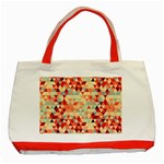 Modern Hipster Triangle Pattern Red Blue Beige Classic Tote Bag (Red) Front