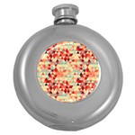 Modern Hipster Triangle Pattern Red Blue Beige Round Hip Flask (5 oz) Front