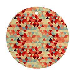 Modern Hipster Triangle Pattern Red Blue Beige Round Ornament (Two Sides)