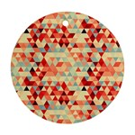 Modern Hipster Triangle Pattern Red Blue Beige Round Ornament (Two Sides)  Front