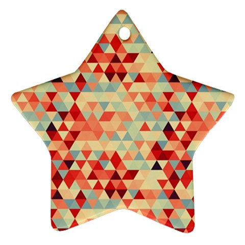 Modern Hipster Triangle Pattern Red Blue Beige Star Ornament (Two Sides)