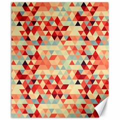 Modern Hipster Triangle Pattern Red Blue Beige Canvas 8  x 10