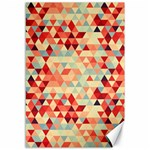 Modern Hipster Triangle Pattern Red Blue Beige Canvas 12  x 18   18 x12 Canvas - 1