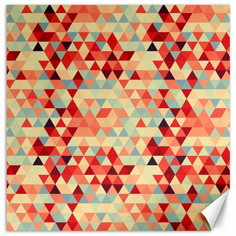 Modern Hipster Triangle Pattern Red Blue Beige Canvas 20  x 20