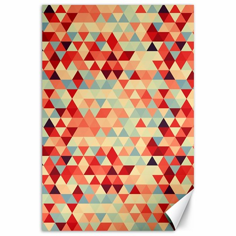 Modern Hipster Triangle Pattern Red Blue Beige Canvas 24  x 36