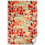 Modern Hipster Triangle Pattern Red Blue Beige Canvas 24  x 36  36 x24 Canvas - 1