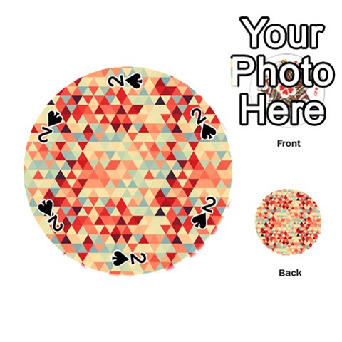 Modern Hipster Triangle Pattern Red Blue Beige Playing Cards 54 (Round)