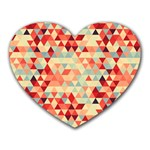 Modern Hipster Triangle Pattern Red Blue Beige Heart Mousepads Front
