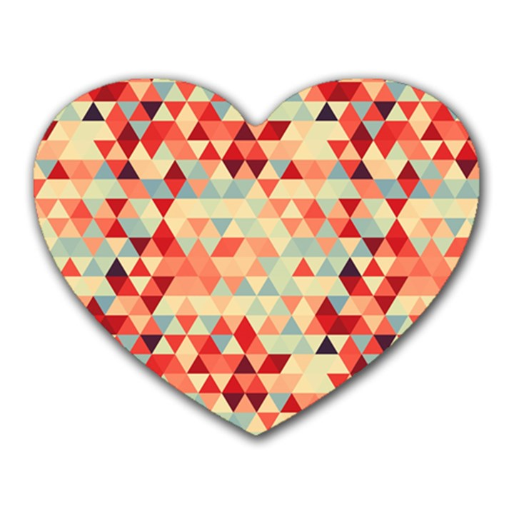 Modern Hipster Triangle Pattern Red Blue Beige Heart Mousepads