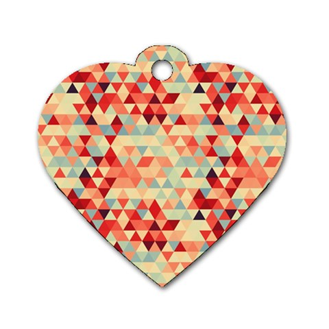 Modern Hipster Triangle Pattern Red Blue Beige Dog Tag Heart (Two Sides)