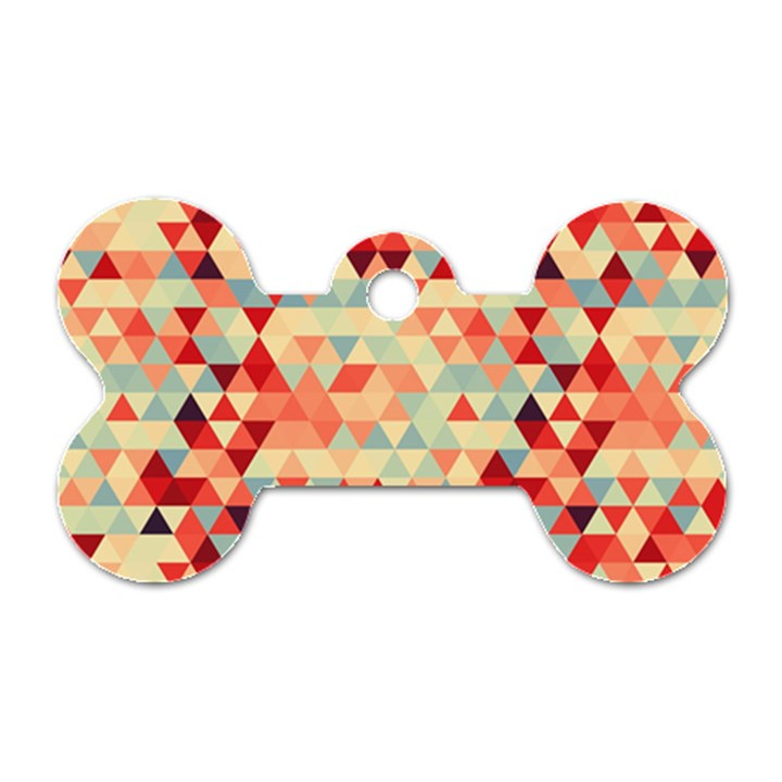 Modern Hipster Triangle Pattern Red Blue Beige Dog Tag Bone (One Side)