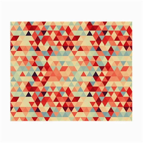 Modern Hipster Triangle Pattern Red Blue Beige Small Glasses Cloth (2-Side)