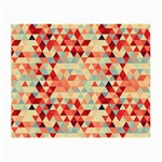Modern Hipster Triangle Pattern Red Blue Beige Small Glasses Cloth (2-Side) Back