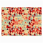 Modern Hipster Triangle Pattern Red Blue Beige Large Glasses Cloth (2-Side) Front