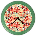 Modern Hipster Triangle Pattern Red Blue Beige Color Wall Clocks Front