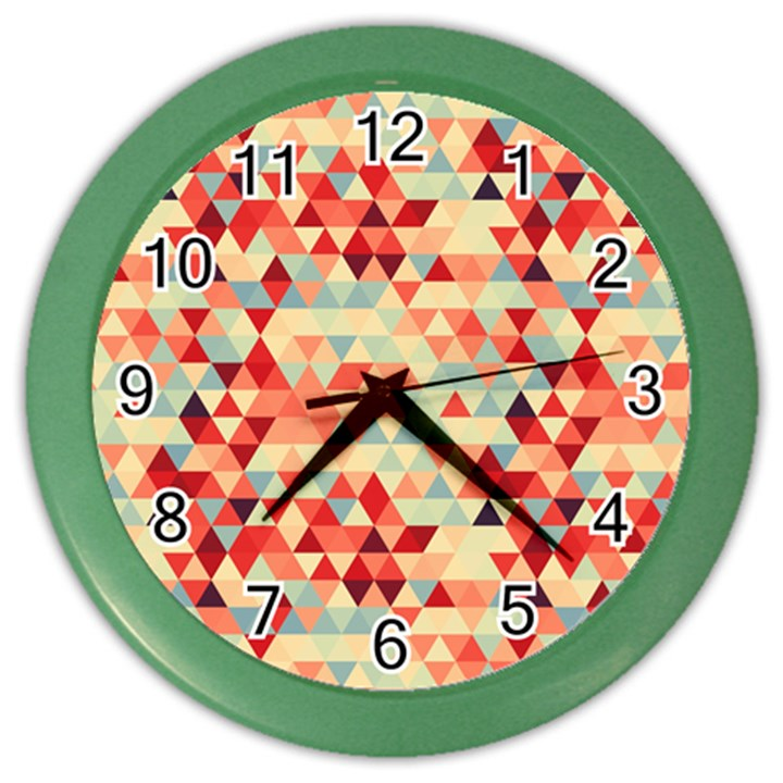 Modern Hipster Triangle Pattern Red Blue Beige Color Wall Clocks