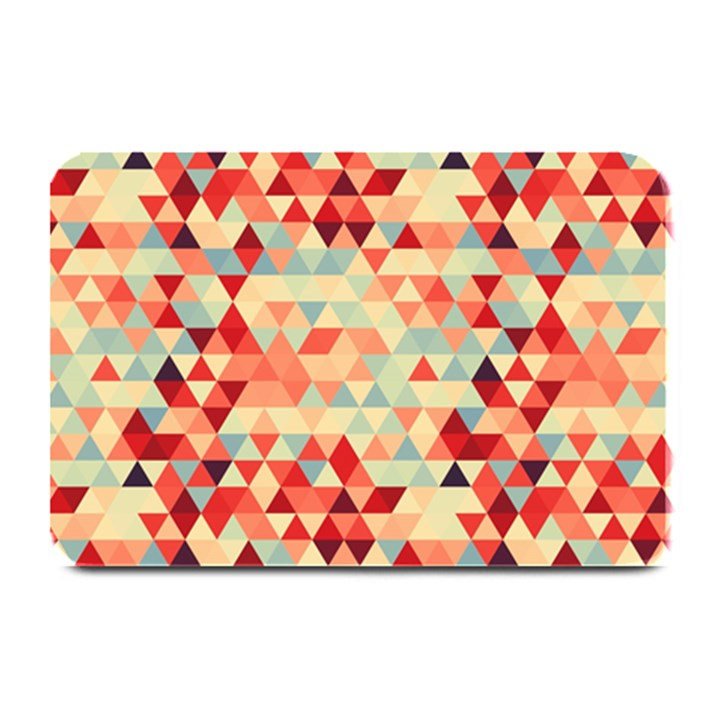 Modern Hipster Triangle Pattern Red Blue Beige Plate Mats