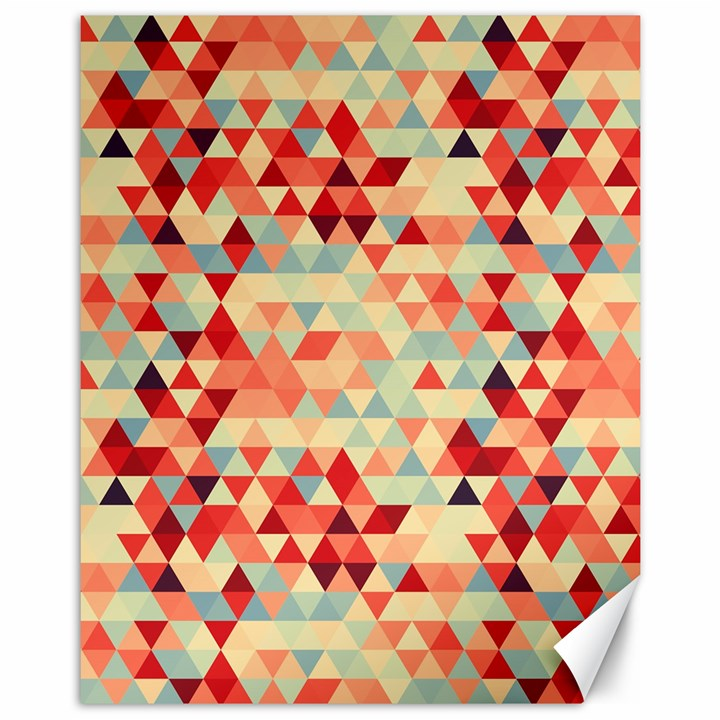 Modern Hipster Triangle Pattern Red Blue Beige Canvas 11  x 14