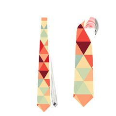 Modern Hipster Triangle Pattern Red Blue Beige Neckties (One Side)