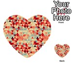 Modern Hipster Triangle Pattern Red Blue Beige Multi-purpose Cards (Heart)  Back 34