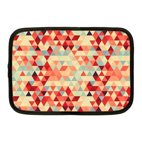 Modern Hipster Triangle Pattern Red Blue Beige Netbook Case (Medium)