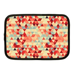 Modern Hipster Triangle Pattern Red Blue Beige Netbook Case (medium)
