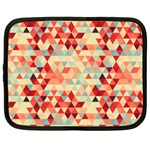 Modern Hipster Triangle Pattern Red Blue Beige Netbook Case (Large) Front