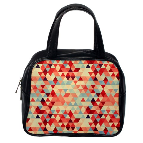 Modern Hipster Triangle Pattern Red Blue Beige Classic Handbags (One Side)