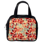 Modern Hipster Triangle Pattern Red Blue Beige Classic Handbags (One Side) Front